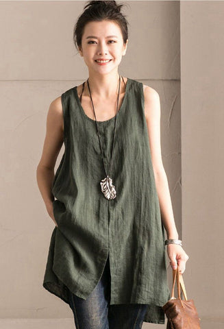 Green Cotton Linen Sleeveless Casual Long Shirt Summer and Spring For Women clothes B636B