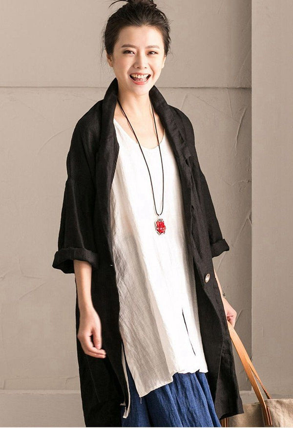 White Cotton Linen Sleeveless Casual Long Shirt Summer and Spring For Women clothes B636B - FantasyLinen