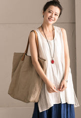 White Cotton Linen Sleeveless Casual Long Shirt Summer and Spring For Women clothes B636B