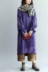 Falbala Sleeve Cotton Loose Dress, Women Long Lovely Dress Q7090