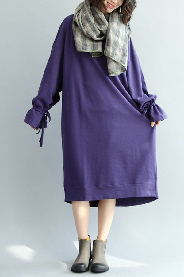 Falbala Sleeve Cotton Loose Dress, Women Long Lovely Dress Q7090 - FantasyLinen