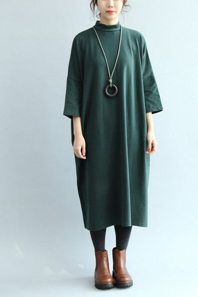Cotton Loose Base Dress, Women Simple Long Dress Q7126 - FantasyLinen