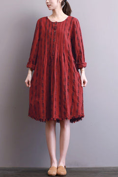 FantasyLinen Women Cotton Loose Dress, Casual Middle Dress in Red Q3008