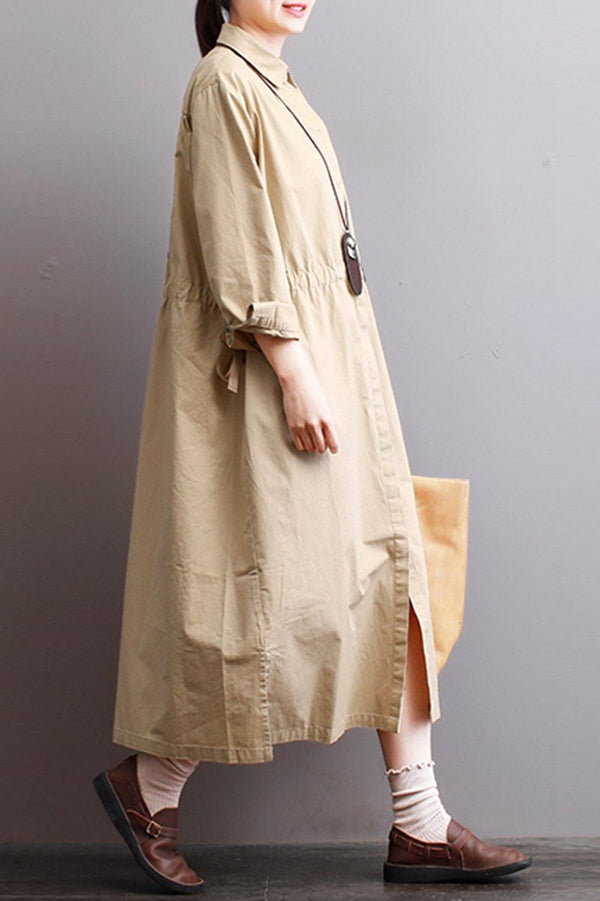 FantasyLinen Loose Cotton Shirt Dress in Khaki, Plus Size Casual Shirt Dress With Belt Q3005 - FantasyLinen