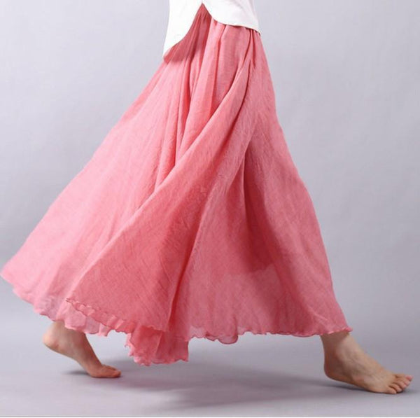 Multicolor Sun Skirt Elastic Waist Cotton linen Skirt Big Hem Long Skirt Women Clothes S1725 - FantasyLinen