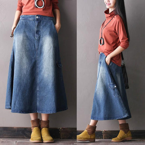 Cowboy A-Style Cotton Skirt Vintage Dress Women Clothes R0501A