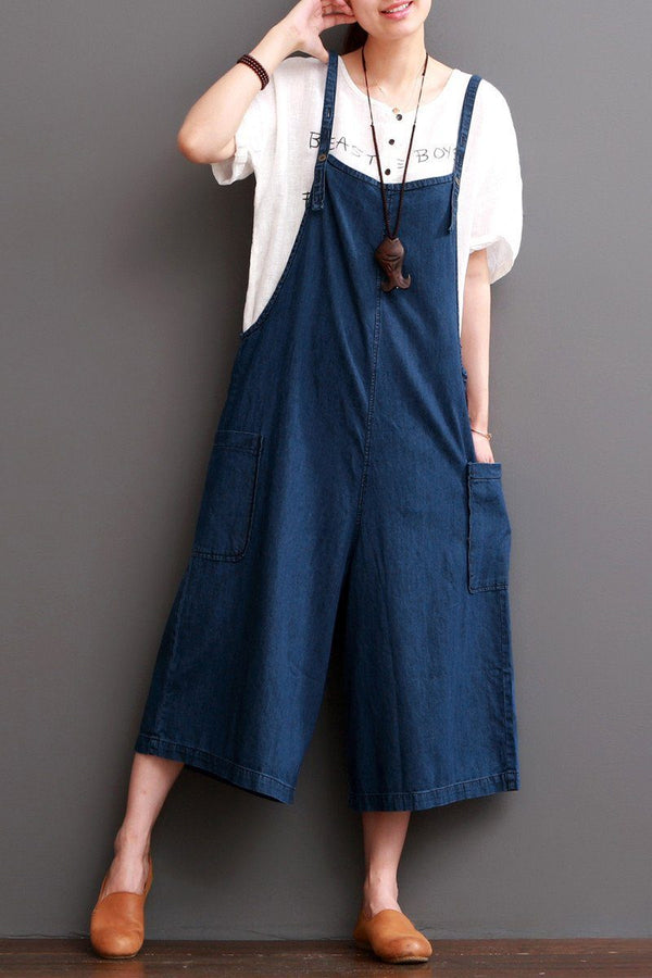 Cowboy Blue Causel Loose Overalls Big Pocket Trousers Women Clothes - FantasyLinen