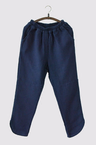 Dark Blue Linen Pants Causel Women Clothes