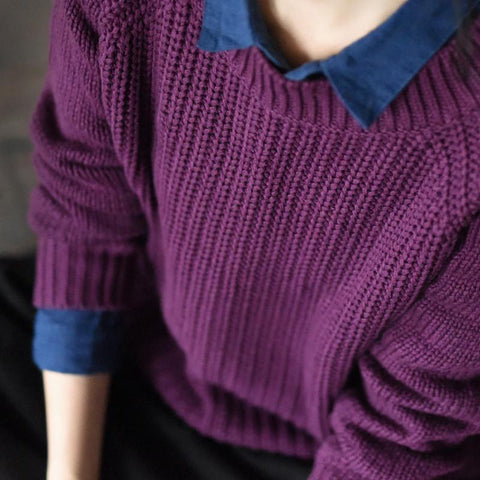 Dark Purple Vintage Sweater Cotton Simple Casual Loose Women Clothes LR237