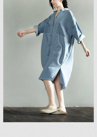 Denim Casual Loose Long Dress Shirt Women Tops LR937