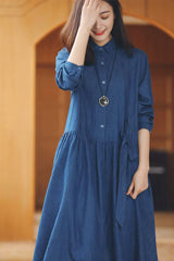 Denim Linen Casual Oversize Shirt Dress For Women Q3351