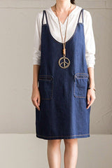 FantasyLinen Women Denim Loose Sundress, Casual Dress in Blue Q7113A