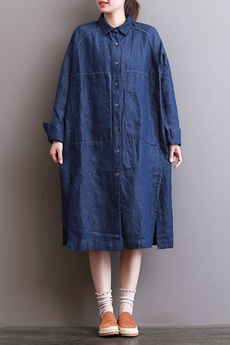 FantasyLinen Women Denim Shirt Dress, Plus Size Casual Shirt Dress With  Pockets Q3004