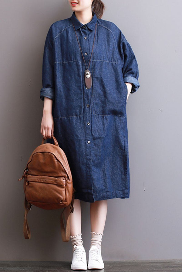 FantasyLinen Women Denim Shirt Dress, Plus Size Casual Shirt Dress With Pockets Q3004 - FantasyLinen