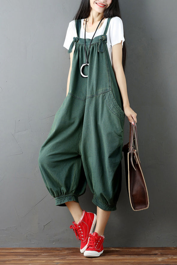Green Denim Romper Casual Loose Overall Jumpsuit For Women Q6511