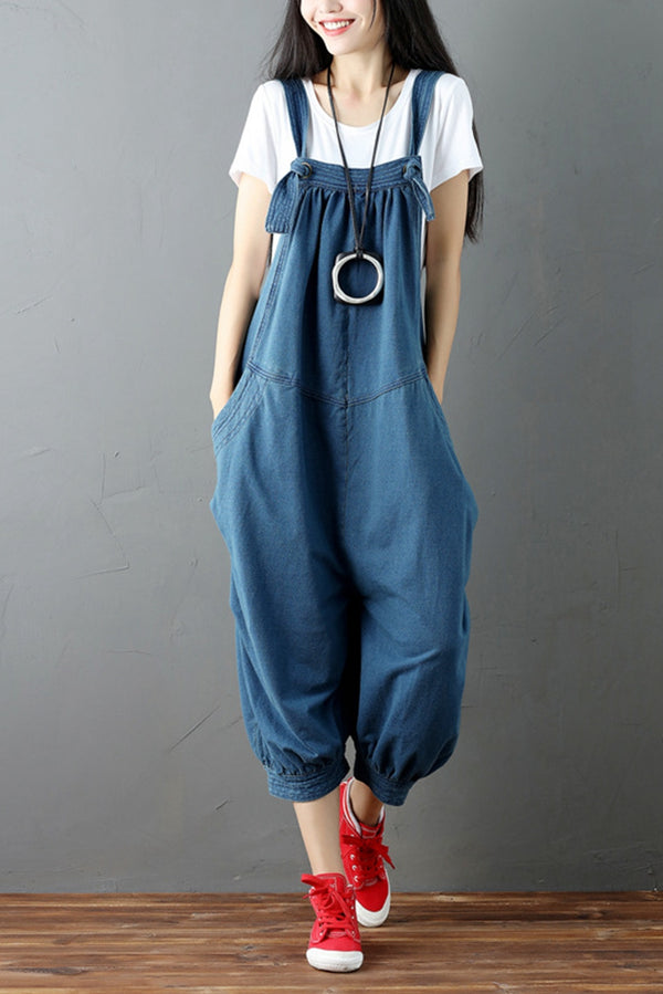 Blue Denim Romper Casual Loose Overall Jumpsuit For Women Q6511 - FantasyLinen