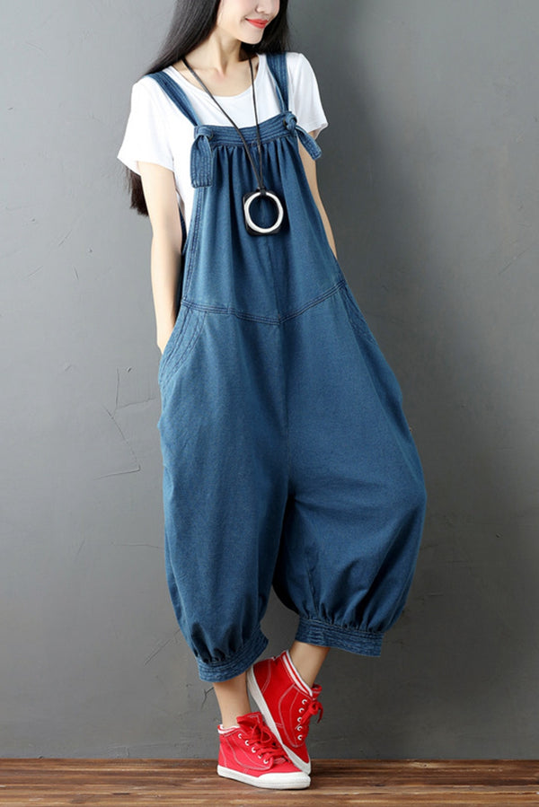 Red Denim Romper Casual Loose Overall Jumpsuit For Women Q6511