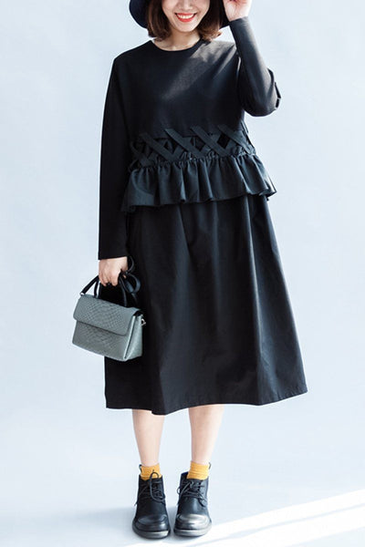Black Falbala Knitted Cotton Thick Long Sleeve Dress Women Top