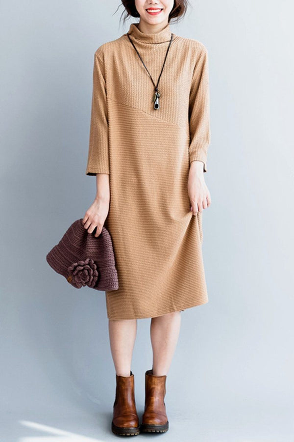Simply Knitted Cotton Long Dress For Women - FantasyLinen