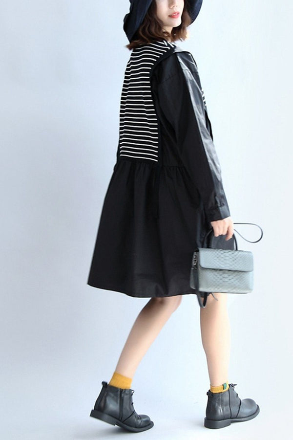 Cotton Stripe Long Sleeve Women Dress Tops In Black - FantasyLinen