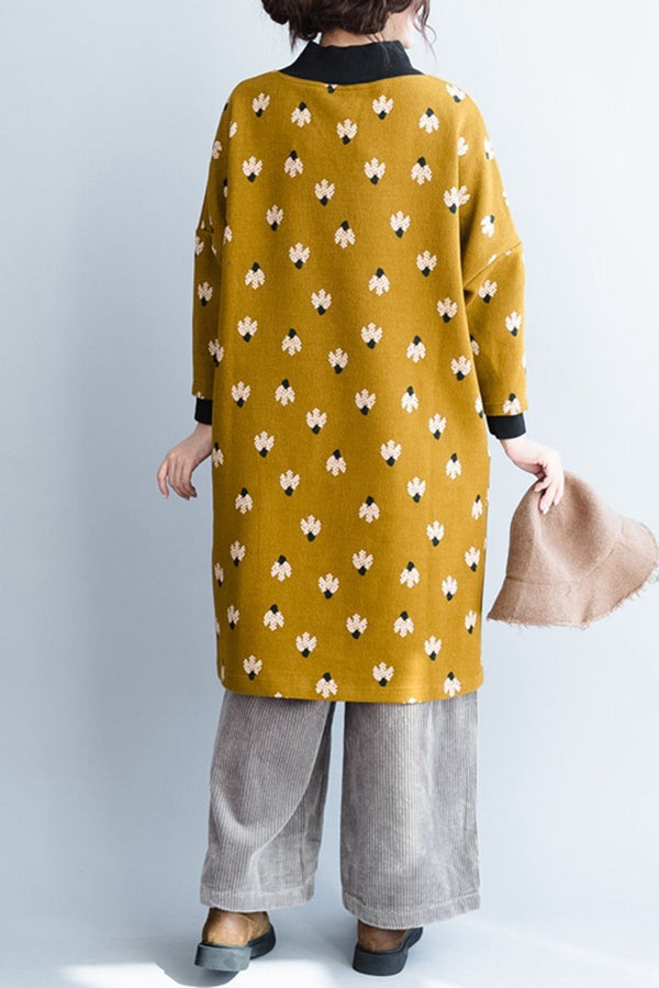 Yellow Small Flower Loose Stright Thicken Cotton Dress - FantasyLinen