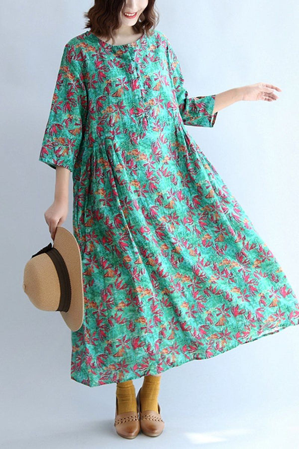 Elegant Pink Floral Cotton Linen Plus Size Dress Women Clothing - FantasyLinen