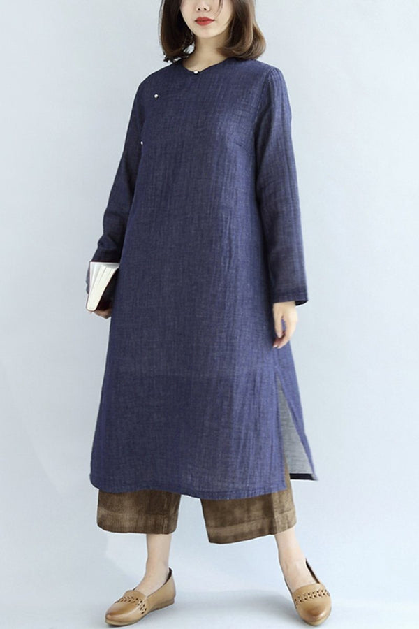 Retro Navy Blue Long Cotton Linen Cloth Women Dress - FantasyLinen