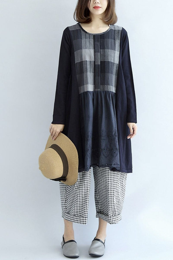 Cotton And Linen Plaid Block Loose Oversize Dress Women Clothes - FantasyLinen
