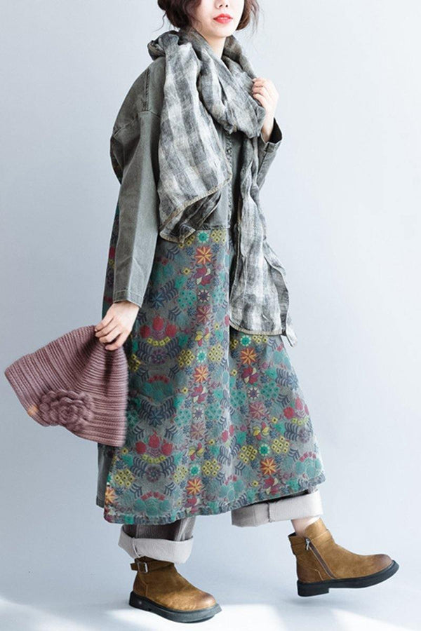 Art Printing Maxi Size Casual Loose Thicken Long Women Dresses - FantasyLinen