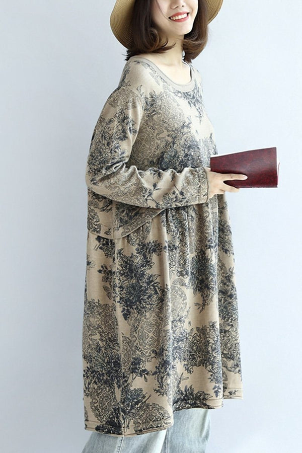Printing Cotton High Waist Loose Women Dress - FantasyLinen