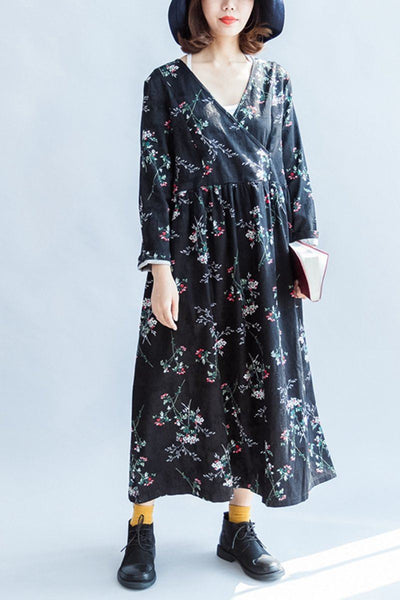 Black Floral Loose Maxi Thick V-neck Long Sleeve Dress