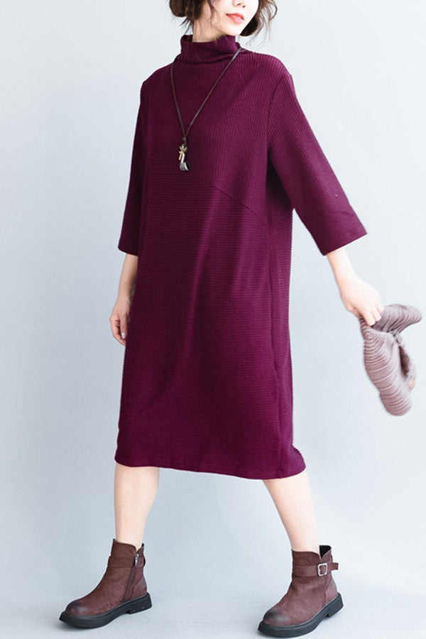 Maxi Knitted Cotton Long Dress Casual Women Clothes - FantasyLinen