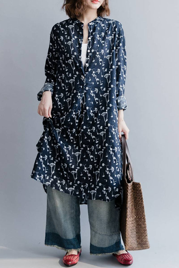Blue Floral Linen Casual Loose Women Shirt Dresses Q9041 - FantasyLinen