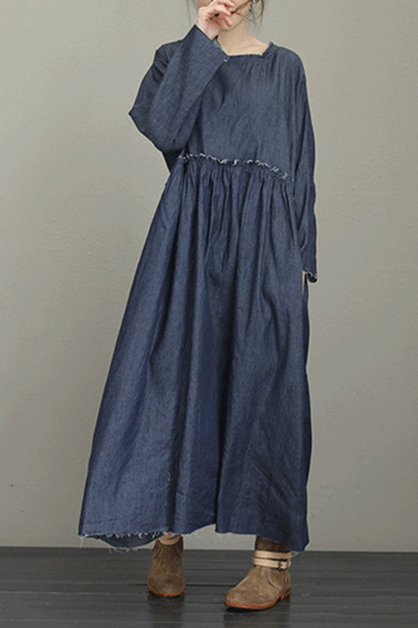 Dark Blue Cowboy Long Dresses For Women Loose Casual Denim Dress OutfitQ8101