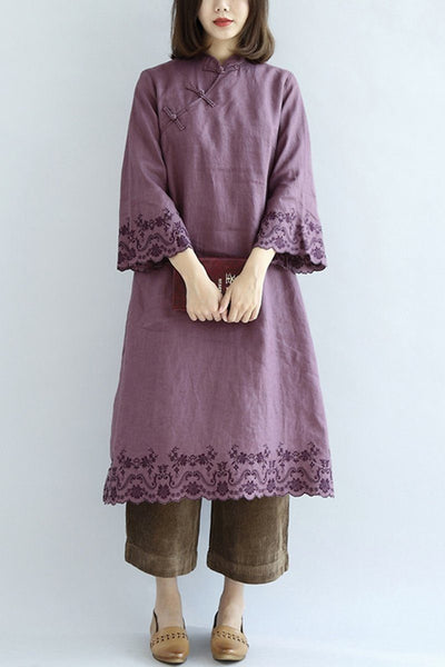 Simply Purple Linen Embroidery Dresses For Women