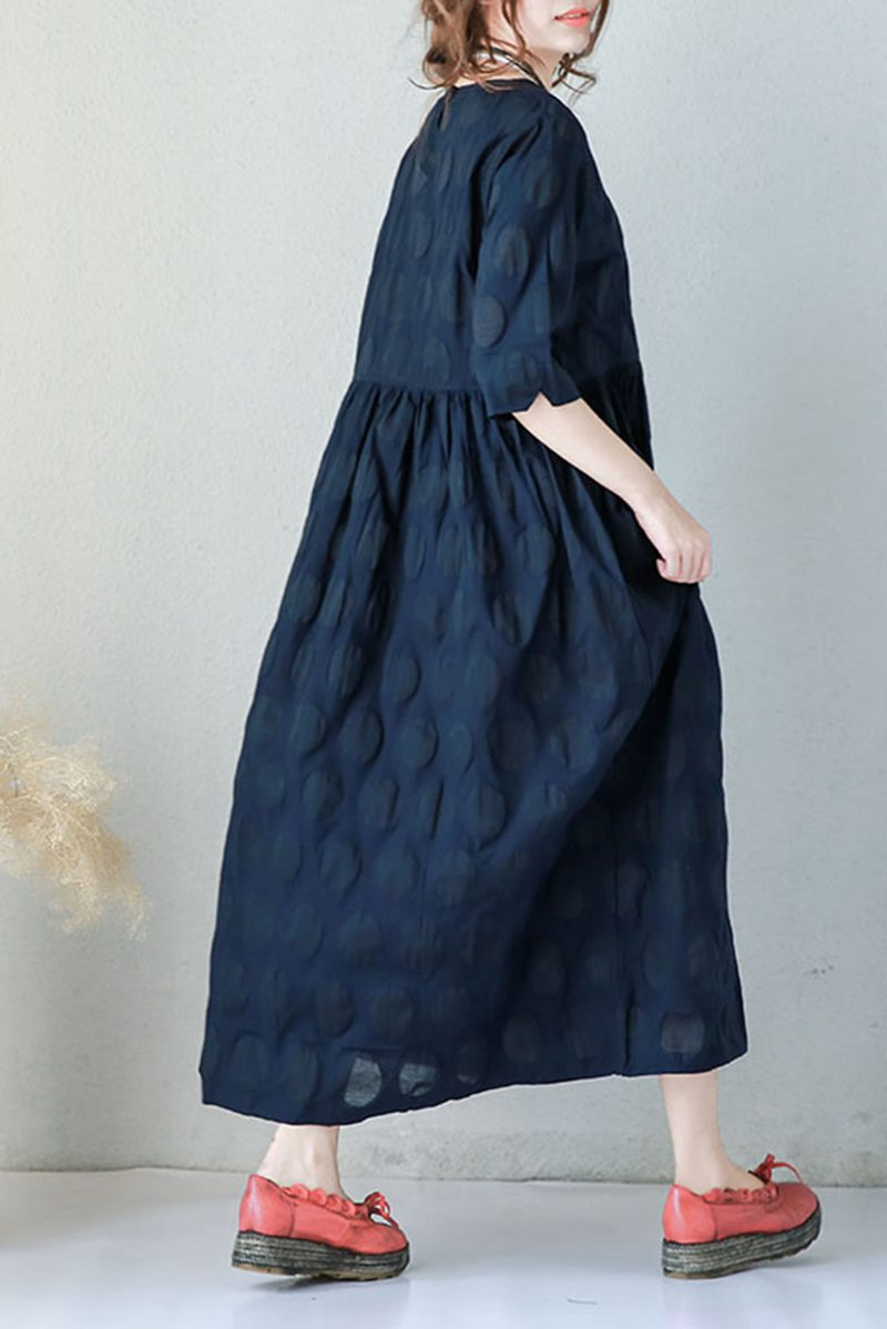 Blue Plus Size Casual Cotton Linen Dresses For Women Q9043 ...