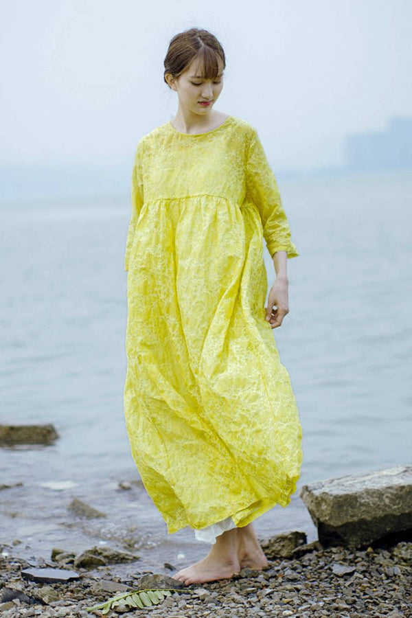Printing Cotton Women Dresses Yellow Loose Dress for Women S397 - FantasyLinen