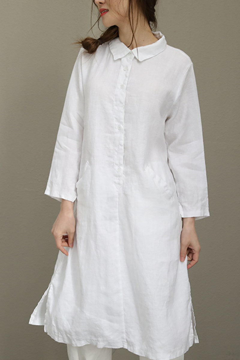 8e773fc4d80c Summer White Linen Women Shirt Dresses Q8371 - FantasyLinen