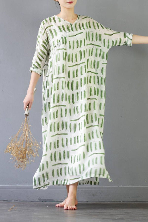 Linen Women Long Dresses 3/4 Sleeve Loose Women Dress S330