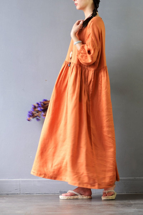 Linen Plus Size Women Long Dress Loose Women Dress S425