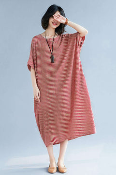Fashion Striped Women Summer Long Dresses Loose Women Dress Q2047
