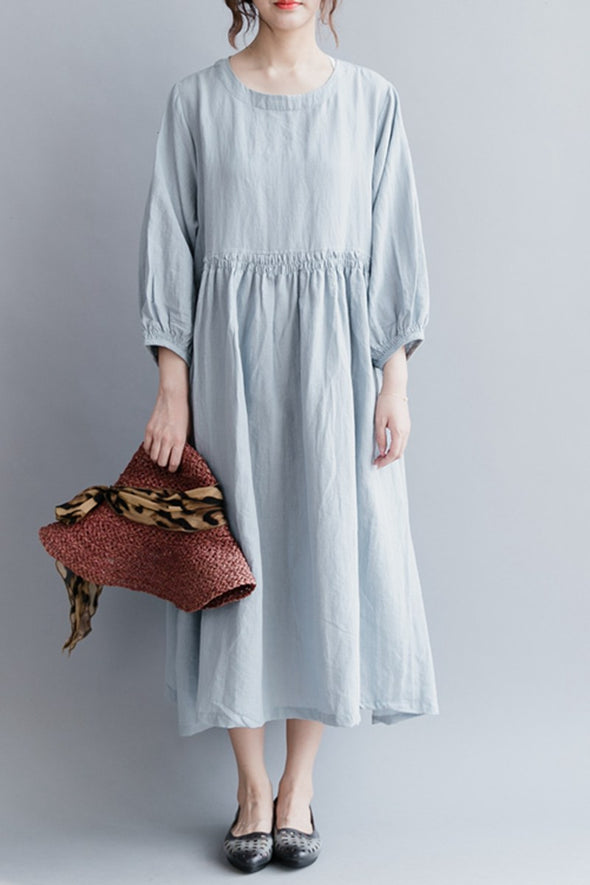 Fashion Women Long Dresses Cotton Linen Loose Lady Dress Q2041
