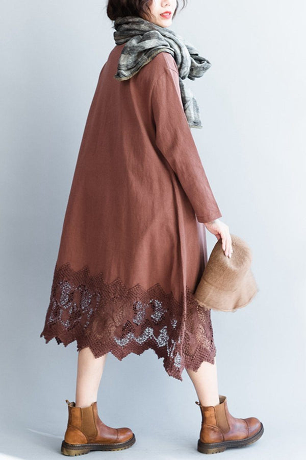 Women's Elegant Lace Loose Cotton Dress With Long Sleeve - FantasyLinen