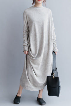 Gray Cotton Women Long Dresses Loose Women Dress Q20410