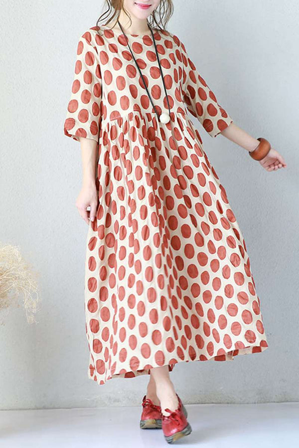 Red Big Points Cotton Summer dresses For Women Q670