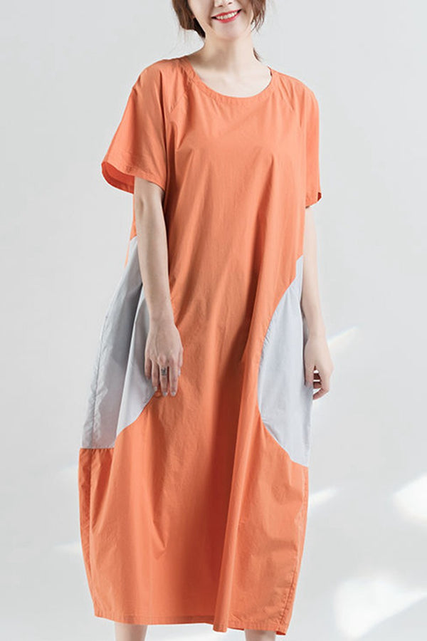 Women Summer Long Dresses Round Neck Loose Women Dress Q2045 - FantasyLinen