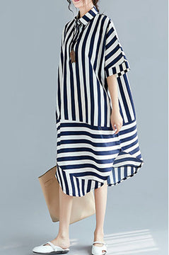 Summer Blue White Striped Long Dresses For Women Q2046
