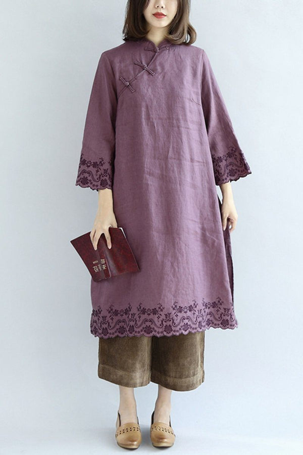 Simply Purple Linen Embroidery Dresses For Women - FantasyLinen