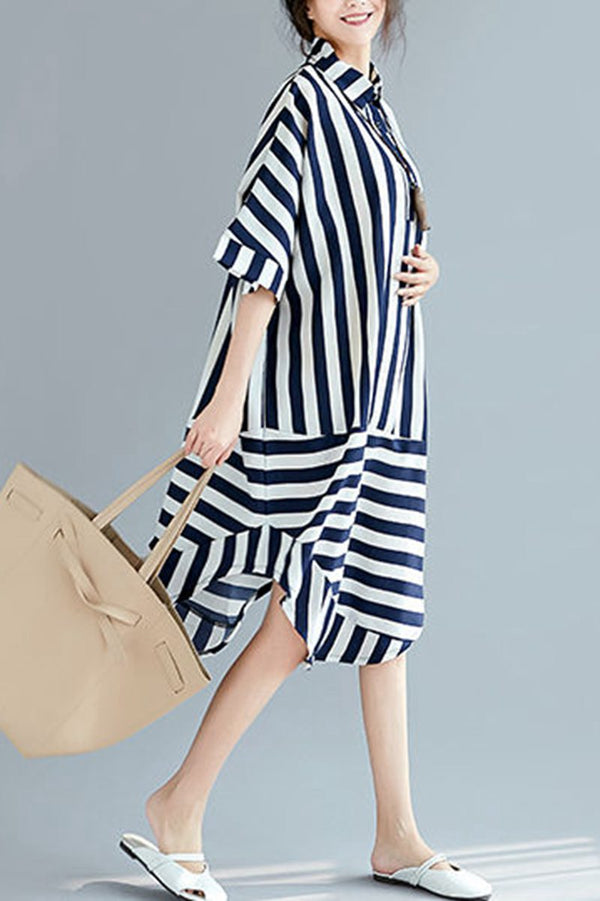 Black White Striped Women Summer Long Dresses Loose Women Dress Q2046 - FantasyLinen