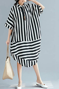Black White Striped Women Summer Long Dresses Loose Women Dress Q2046